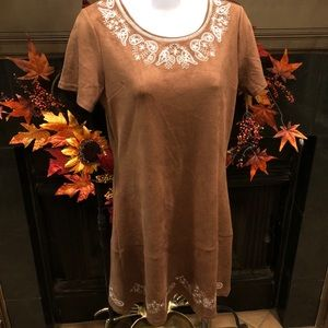 Ethereal Paper Crane Embroidered Faux Suede Dress